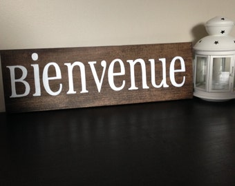 Bienvenue Hand Painted Wood Sign - Welcome French Sign - Welcome Sign - Bienvenue Home Decor
