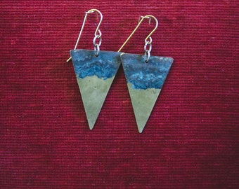 Natural patina brass triangle earrings