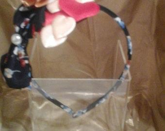 Flower bow hearts and pearl  handmade headband