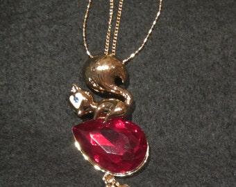 Squirrel with nuts Pendant, Pendant, Squirrel Pendant,  18 k Gold Squirrel Pendant, 18 k Gold Squirrel with nuts Pendant, Swarovski Crystals