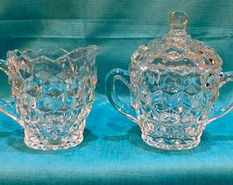 American Fostoria Creamer and Sugar Bowl