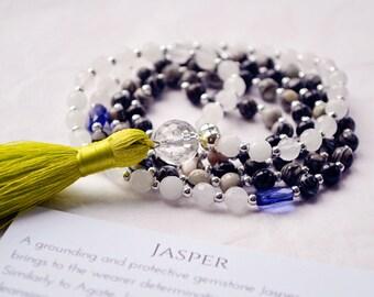 Yoga Beads - Jasper Mala - Quartz Mala - Yoga Prayer Beads - Yoga bead Necklace - Yoga Crystal Bead Necklace - Meditation Beads - Mantra 108