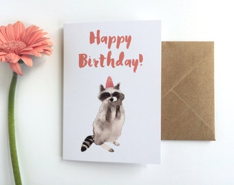 Birthday Card Racoon