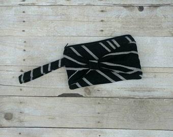 Bow Front Clutch, Wrap Scrap Wristlet, Small Clutch Bag, Women's Handbag, Natibaby Jack Wristlet