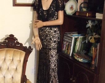1930's black lace bias-cut evening dress.