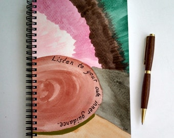 FREE SHIPPING; Hand Painted Wire Bound Spiral Journal; Blank Notebook; Writing Journal, Small Sketchbook; Unique Gift; Inner Guidance