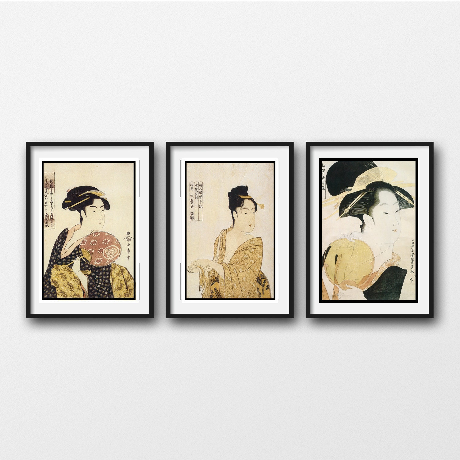 3 Piece Wall Art Vintage Japanese Prints Matted And