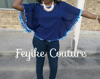African Clothing, chiffon tunic top with african print frills