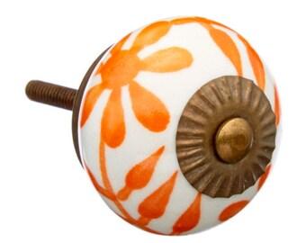 Orange & White Ceramic Drawer Knob, Pull for Dresser, Hutch, Desk, Cabinet - i467