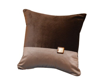 Dark Brown Velvet Pillow Cover, Dark Brown Velvet Cushion Cover , Velvet & Taffeta Decorative Pillow, Housewares , 12 x 12""