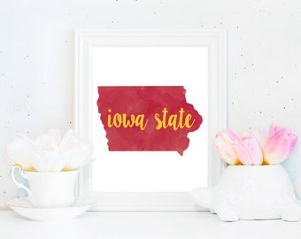 Iowa State Cyclones Watercolor State Printable (8x10)