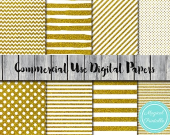 Gold Digital Papers, Gold Stripes, Gold dots, Instant Download Digital Papers, Commercial Use, Scrapbook Papers, Digital Background, DP05