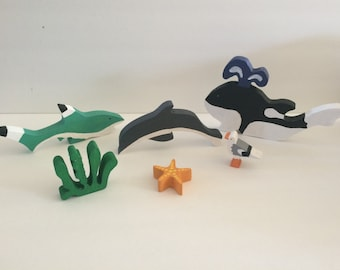 Ocean Animals- Marine Animals- Nautical Toys- Ocean Animal Blocks - Marine Animal Block - Montessori Toy - Waldorf Toy