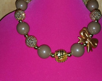 Chocolate gold love chunky necklace for little girls