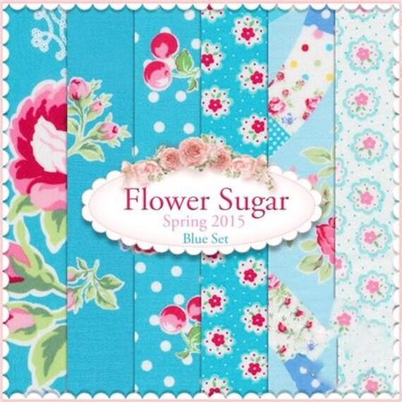 Flower Sugar Spring 2015 by Lecien - Blue FQ Bundle