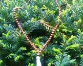 Temple Forest Mala: glass & wood beads on hemp twine