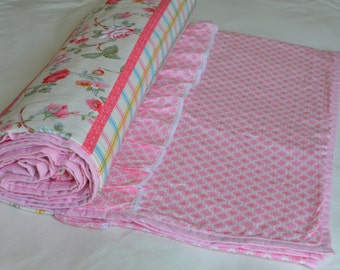 Summer Quilts Blanket Dohar Pink Floral Print Reversible Ruffle 100% Cotton
