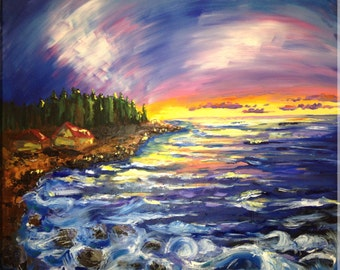 Seaside at sunset