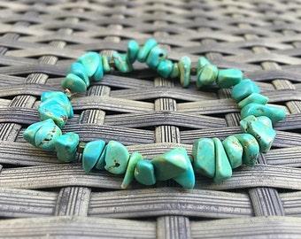 Turqoise Bead Bracelet, Turquoise Dyed Howlite Chip Beads, Surf Bracelet
