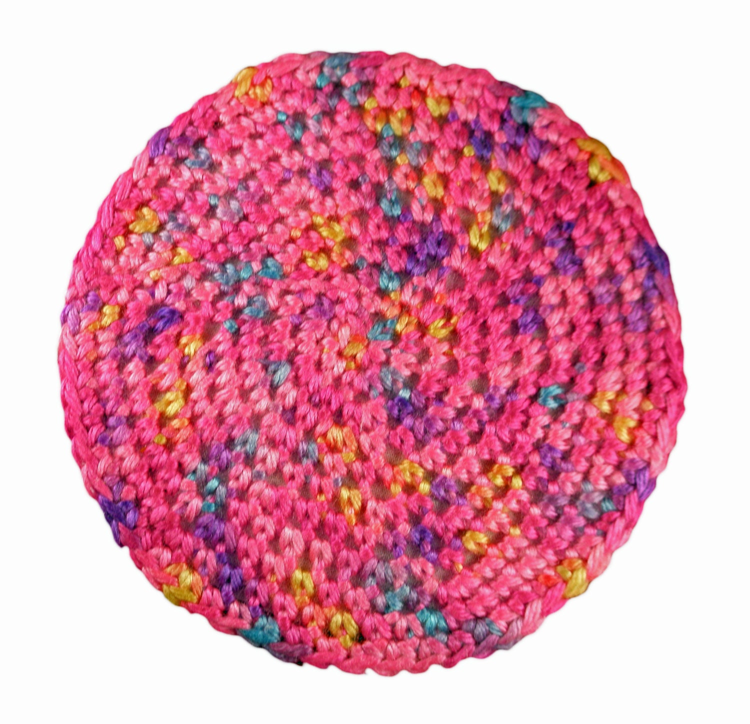 Doll Crocheted Rug Pink Multi-colored 6 Round Area Rug