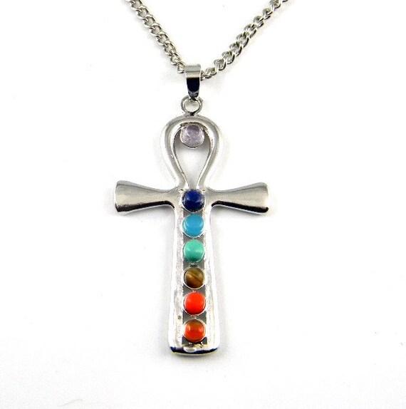 Ankh Cross 7 Gemstone Chakra Pendant Necklace Reiki by ... - photo #18