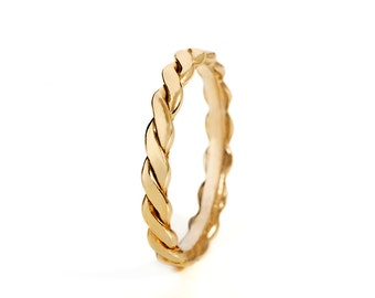 Twisted Wedding Band Ring, Braided Wedding Band, Thin Wedding Band, Braided Wedding Ring, Rope Wedding Band, 14K Gold Ring