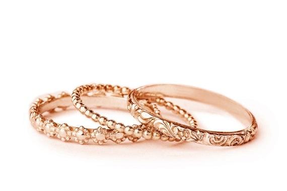 womens stackable wedding ring set rose gold wedding band set. Black Bedroom Furniture Sets. Home Design Ideas