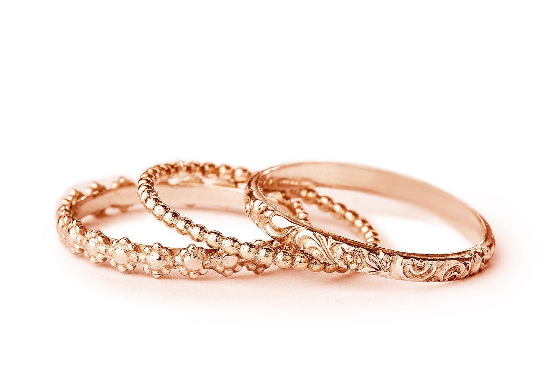 womens stackable wedding ring set rose gold wedding band set