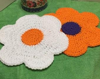 Crochet Dishcloth, Flower Dishcloths Set of 2, Cotton Dishcloths, Crocheted Washcloth, Kitchen Dishcloth