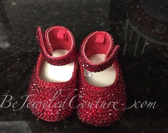 Swarovski Ruby Red Baby Shoes