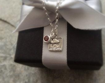 STERLING SILVER NECKLACE - Garnet Necklace - Silver Necklace - Raincloud Necklace -