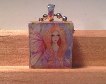 Beautiful long-haired fairy girl,  fairy, scrabble tile jewelry, fairy people,