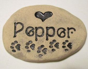 """Small Personalized Pet memorial stone. Pet's Name, Heart, Paw prints. Pet grave marker, approx 6"""" wide.  Artistic Handmade Engraved Brick"""