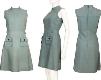 1960s Blue Mod Mini Dress