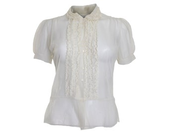 1950s Sheer Cream Frilly Blouse