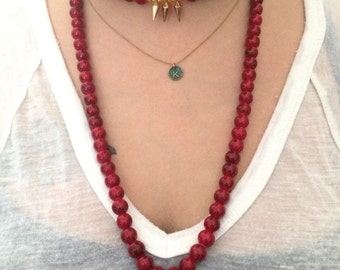 Read beaded doubke/single wrap necklace with spike