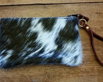 Natural cowhide handmade wristlet, cosmetic bag, change purse