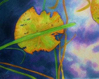 Watercolor and Colored Pencil Painting Lilly Pad Painting