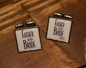 Father of the Bride Cufflinks - Film Cufflinks - Movie poster. Unique wedding cufflinks