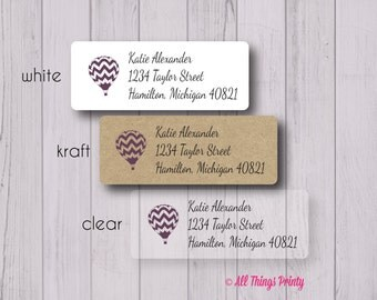 Hot Air Balloon Return Address Labels - Personalized Custom Baby Shower or Pregnancy Mailing Labels - Matte White, Kraft, or Clear Gloss
