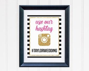 Custom Hashtag Instagram Gold Glitter Printable - Black and White Striped -  Inspired Wedding, Birthday, Party Digital File