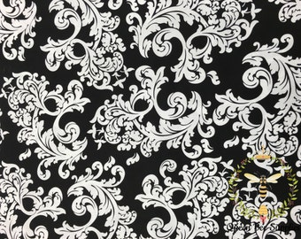 Black & White Paisley Floral Apparel Quilting 100% Cotton Fabric 1 Yard