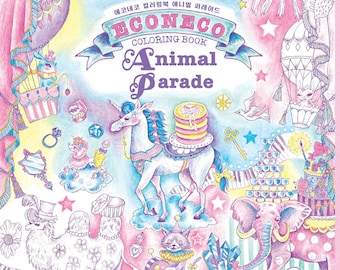 Econeco Animal Parade Coloring Book for adult - Animal Parade Magical Circus Colouring Book, Raspberry Publisher
