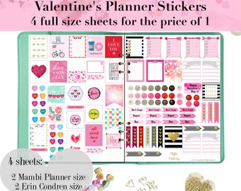 4 pages for the price of 1 | Valentine Printable Planner Stickers | Journal Cards | Scrapbook Labels | Erin Condren | Mambi Happy Planner