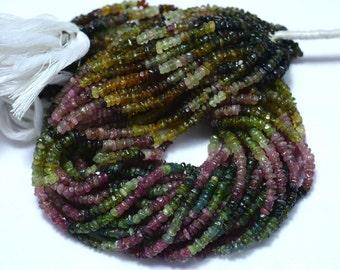 Multi Color Tourmaline, Tourmaline Beads, Tourmaline Necklace, 4mm Beads, 13 Inch Strand