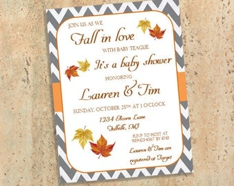 Fall in Love - Fall Baby Shower Invitations - Gender Neutral