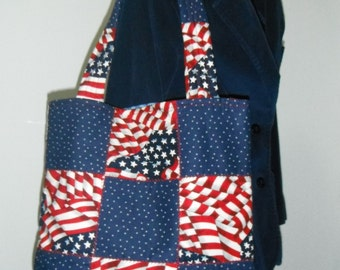 Red, White, and Blue Quilted Handbag