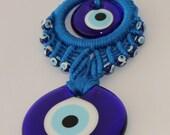 "Turkish Evil Eye, Wall Hanging Handmade Evil Eye Bead 6.5""x2.8"" (1)"