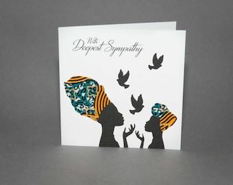 "African Fabric/Ankara/Wax Print/sympathy card/African card (6"" square)- Dove"