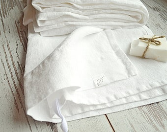 Natural linen towels - Set of 3 white towels - Softened linen towels - Hand / face / tea linen towels - Pure linen towels